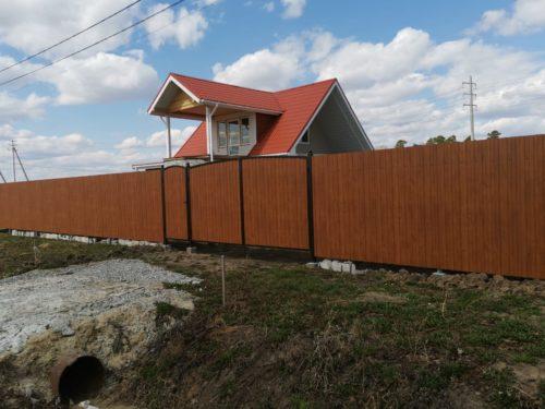 забор ворота и калитка из профнастила